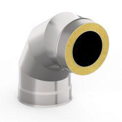 Отвод-сэндвич 90° 115/200 нерж/нерж 0,5/0,5 мм  AISI 439/439 (УМК)