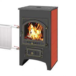 Печь-камин Везувий ПК-01 (205) с плитой и теплообменником красный 12 кВт