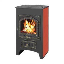 Печь-камин Везувий ПК-01 (205) с плитой красный 12 кВт